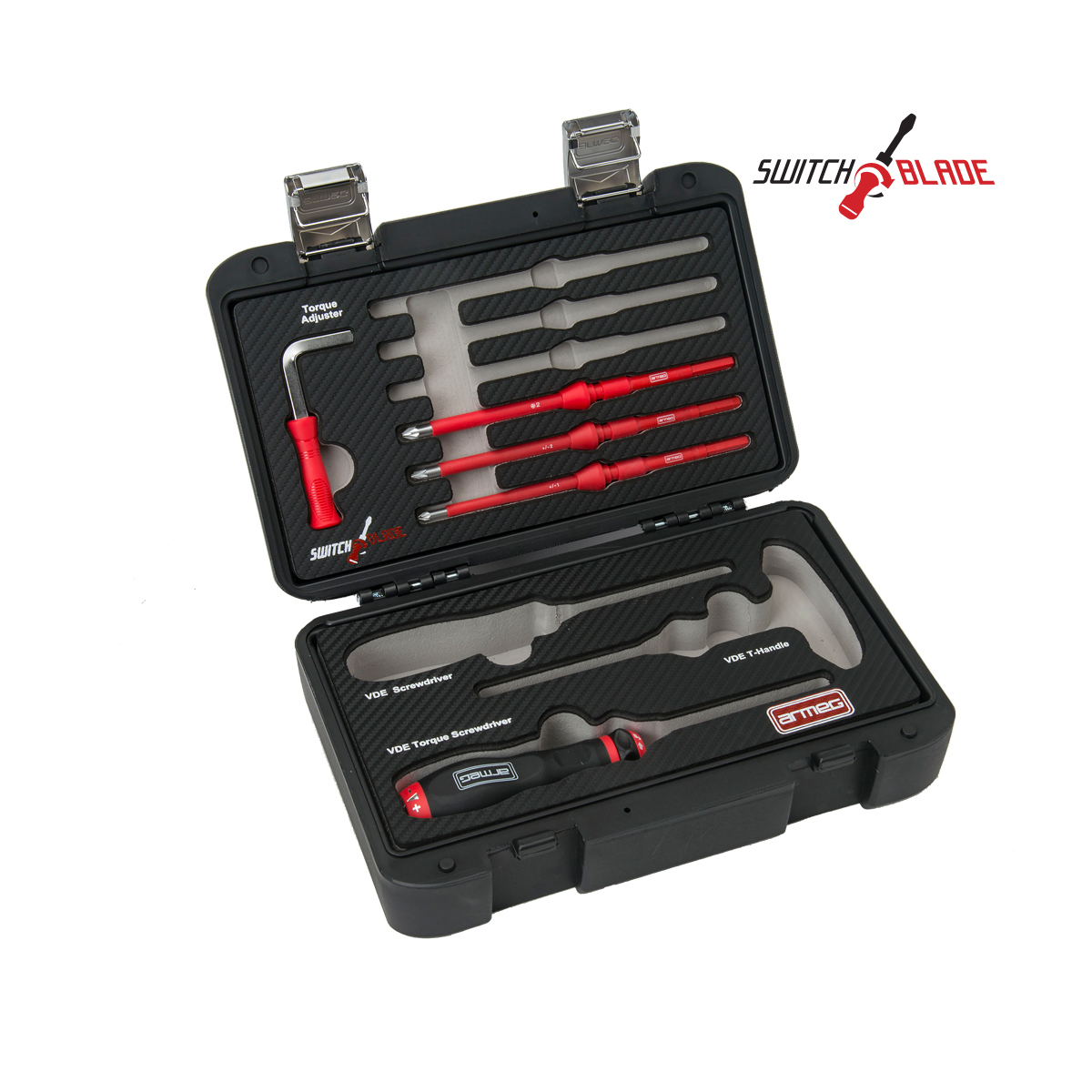 Red//Black Armeg SDICBPZ2 Switch PZ2 VDE Interchangeable Screwdriver Blade